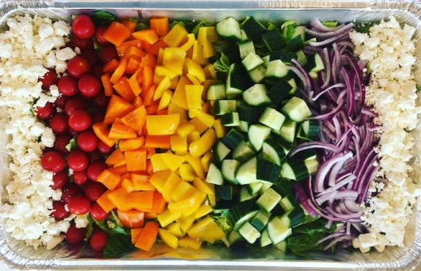 Rainbow Salad with Greek Dressing