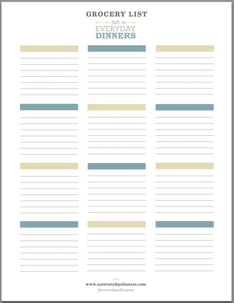 Grocery List Printable| Our Everyday Dinners  Blank Grocery List Templates